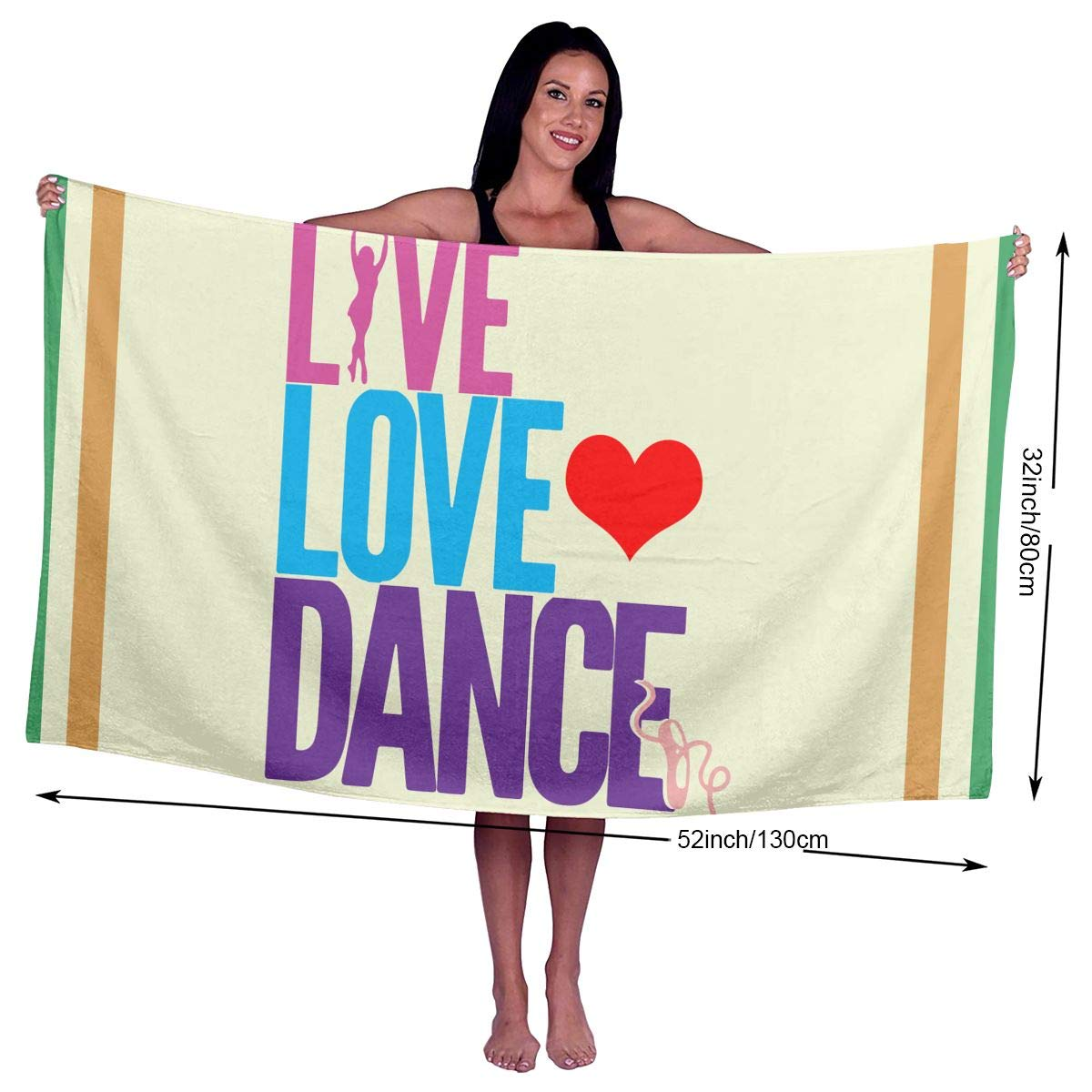 Zhangyi Live Love Dance Ballet Super Absorbent Beach, Bath, Pool, Spa Beach Towel 32x52 Inches for Kids & Adults