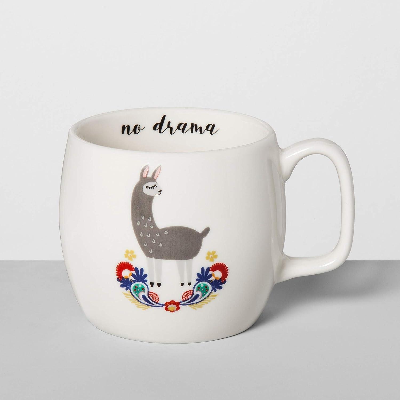 Opalhouse Porcelain 16oz White Mug No Drama Llama