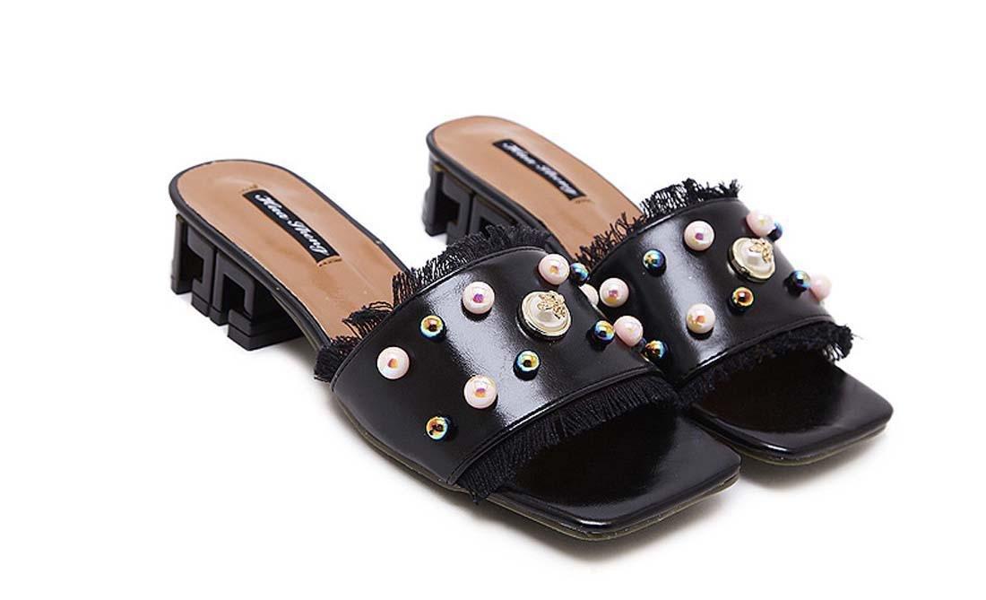 Nouveau Style coréen Square Toe Open Toe Chunky Heel Pantoufle Mode All-Match perle Gland Low Heel Chaussures