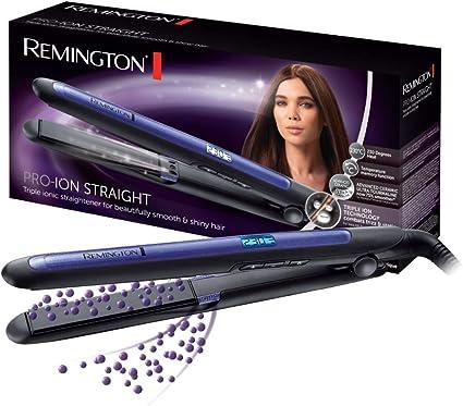 Remington Pro Ion S7710 - Plancha de Pelo, Cerámica, Digital, Placas Flotantes largas, Tecnología Iónica Triple, Azul y Negro