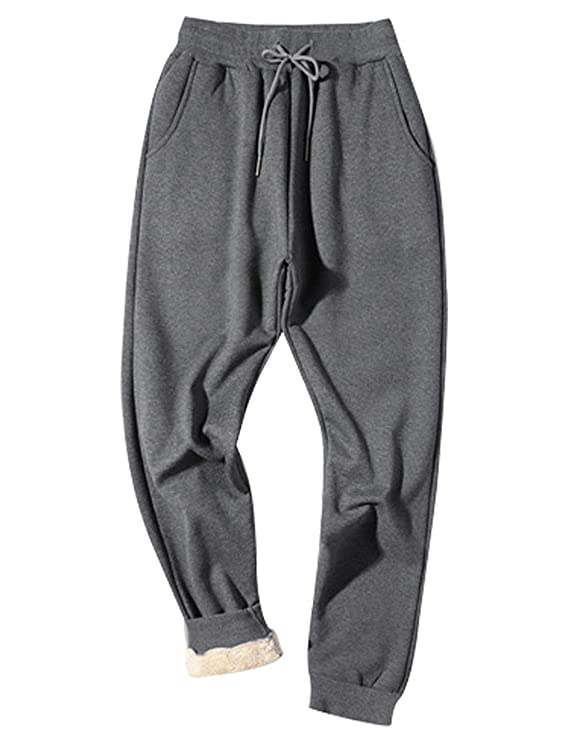 Gihuo Men's Winter Fleece Pants Sherpa Lined Sweatpants Active Running Jogger Pants (Dark Grey, Large) best men's winter pajamas