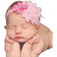 Haarband mit Blumen Tüll Strass Mädchen Baby Taufe Haarschmuck (Rosa)