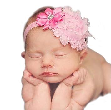 Haarband Mit Blumen Tüll Strass Mädchen Baby Taufe Haarschmuck Pink