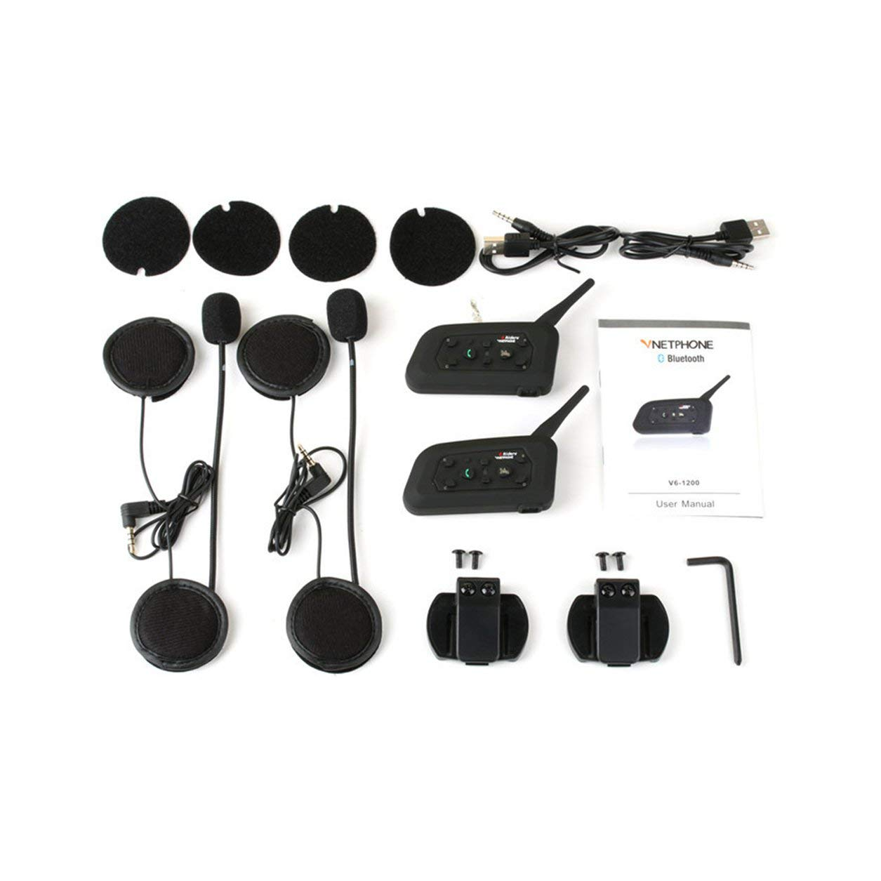 ステレオBluetoothヘッドセットヘルメットカーハンズフリートランシーバーアウトドアスポーツ、黒 B07MZQT67J