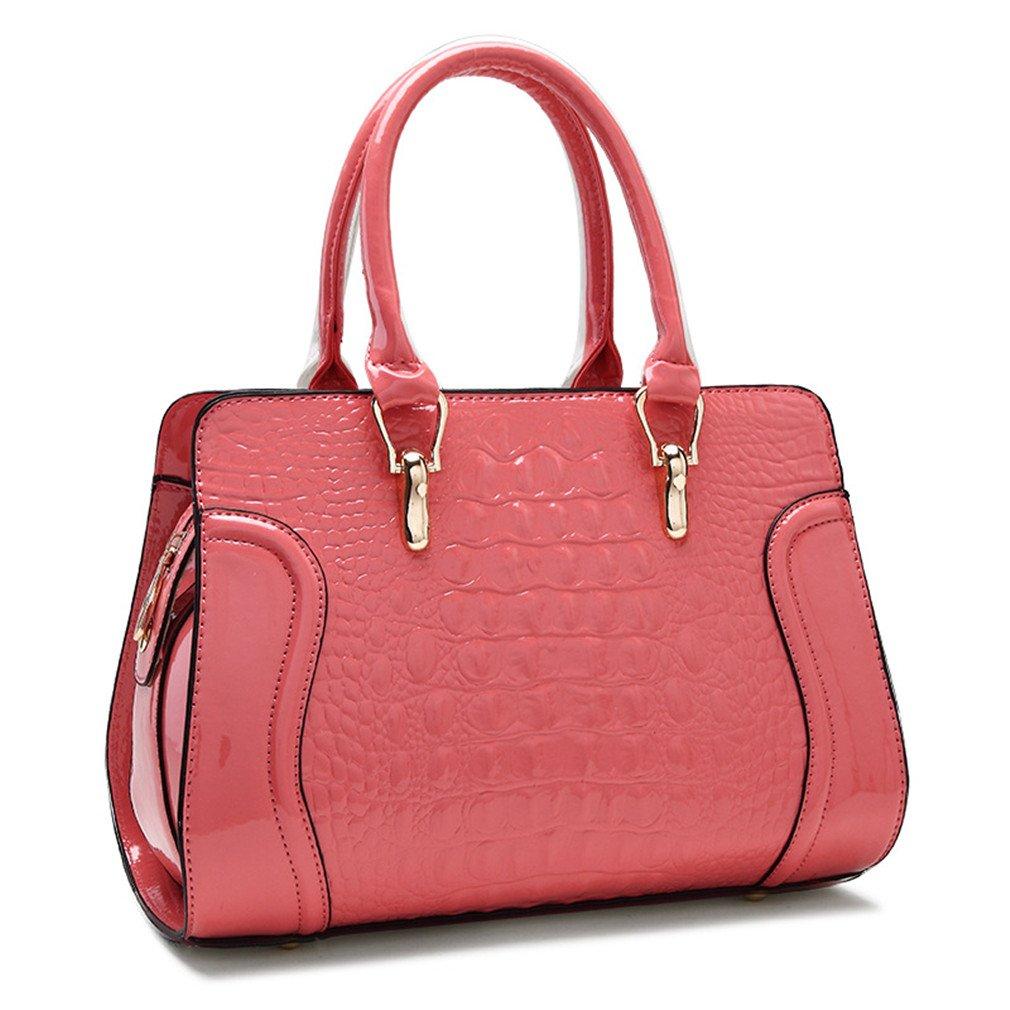 Women Leather Handles Handbags Crocodile Pattern Leather Shoulder Bag Ladies Red Wedding Tote Bags Pink