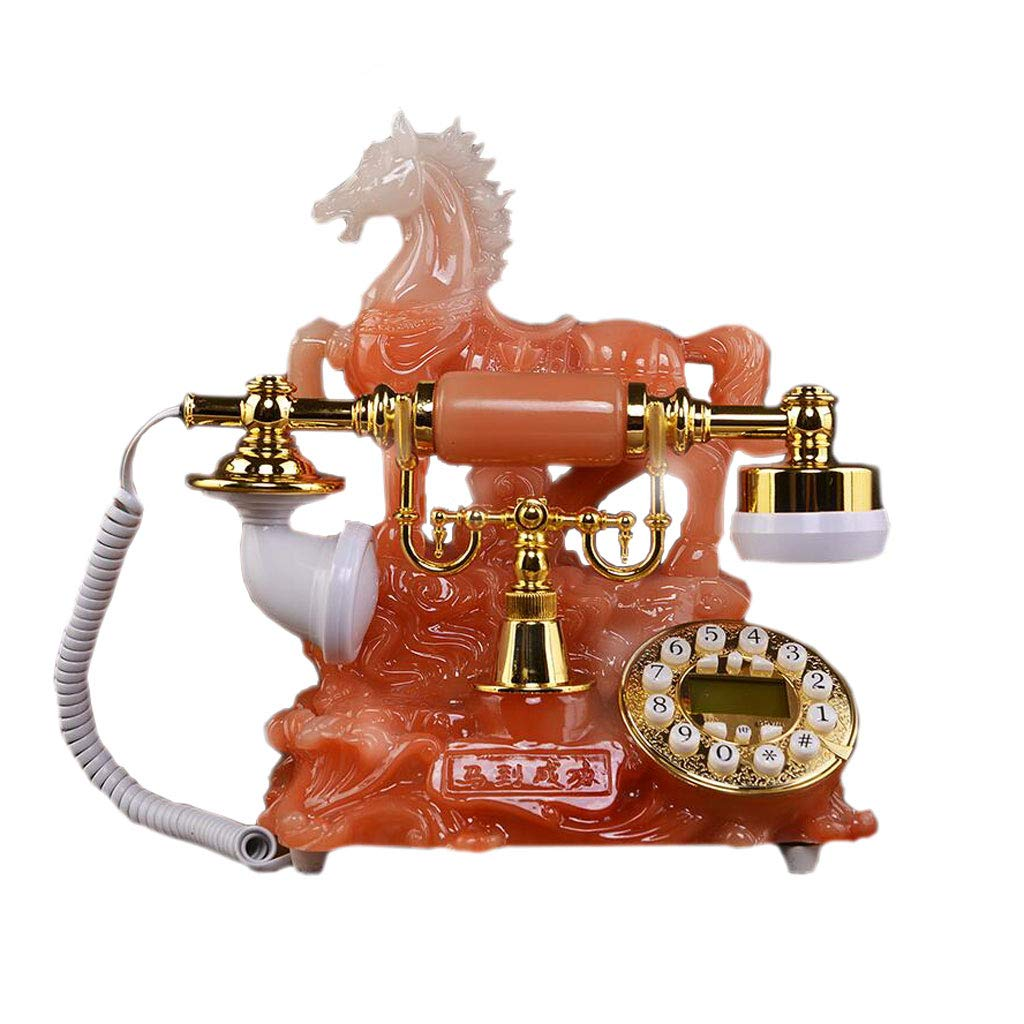 LCM Orange Jade Retro Phone Styling Decorative Resin Metal Button Type Pastoral Fashion Creative Seat European Home Office by LCM