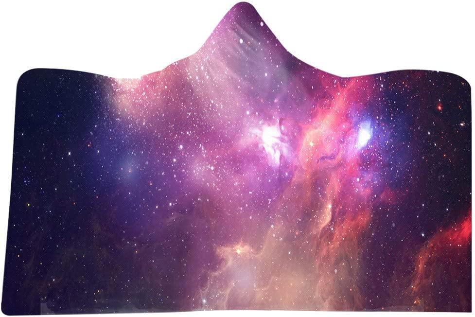 D MONISE-honme Warm Plush Tv Wearable Lap Elderly Blanket Lazy Quilt Hooded Cloak Hooded Blanket 3D Galaxy Star Print Super Soft