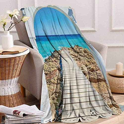 Coastal Throw Blanket View from an Open Window Curve on The Sea with a Quay Wooden Coastline Velvet Plush Throw Blanket 60x36 Inch Peaarl Aqua Blue Cream