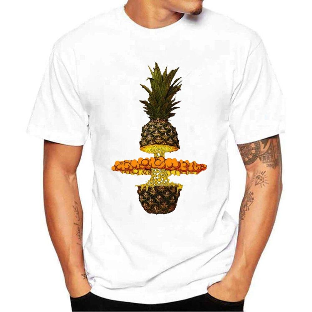 Longra T Shirt Herren Kurzarm T-Shirts Print-Shirts Rundhalsshirts Cool T-Shirt Sommer Top Bluse Streetwear Shirt  Bluse Mauml;nner Regular Fit T-Shirt Basic T-Shirt Weiszlig;  L White 02