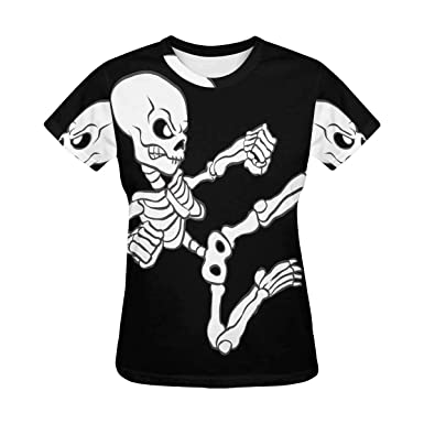 Amazon Com Interestprint Womens T Shirt Kung Fu Skull Casual Crew