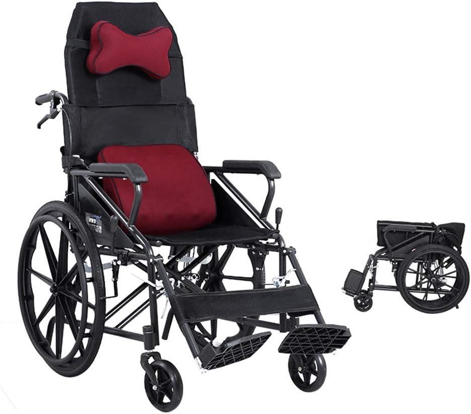 HXiaDyG Silla de Ruedas Plegable Semireclinada Respaldo Alto Plegable Ligero multifunción portátil Comfort de vejez Suave y Firme de la Carretilla para Ancianos (Color : Red, Size : One Size)
