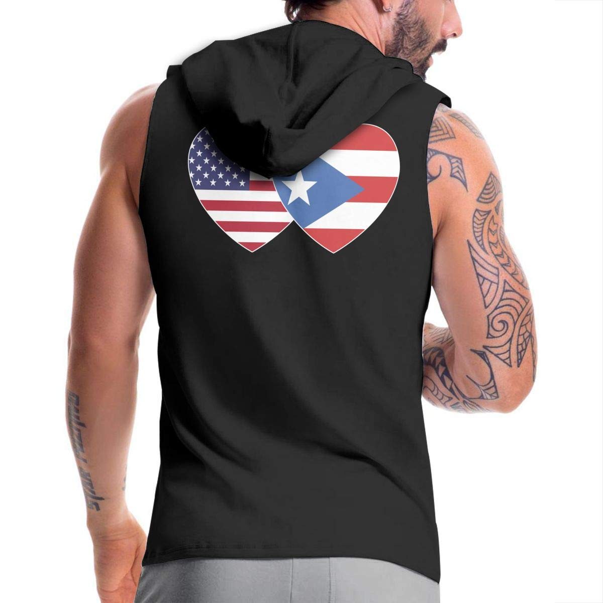 Puerto RICO USA Flag Twin Heart Mens Sleeveless Full Zip-Up Hooded Sweater Active Workout Vest Tank