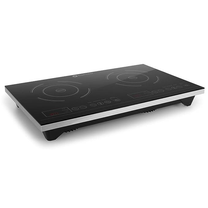 Klarstein VariCook XL Placa de inducción doble (3100W de potencia total, temporizador, botones táctiles, pantalla LED, diseño moderno)