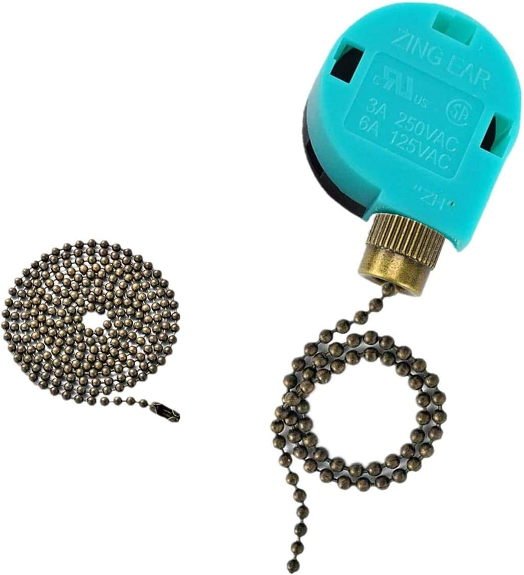 Ceiling Fan Switch Zing Ear Pull Chain Switch ZE-268S6 3 Speed 4 Wire Pull Chain Switch Control Ceiling Fan Replacement Speed Control Switch (Bronze): Appliances