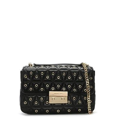 c7c7d7d6329e Michael Kors Sloan Quilted Black Leather Grommet Shoulder Bag:  Amazon.co.uk: Shoes & Bags