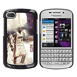 BasketCase 2012 Champion LBron James Weather the Storm Sport BlackBerry Q10 / / Prima Delgada SLIM Casa Carcasa Funda Case Bandera Cover Armor Shell