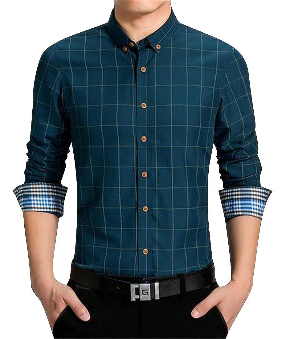 Fubotevic Mens Regular Fit Casual Business Lapel Neck Long Sleeve Button Up Dress Shirt