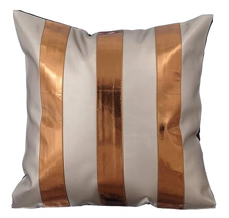 Crema fundas para almohadones, rayas de cuero Bloqueo de ...