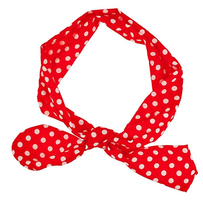 1940s Hair Accessories- Flowers, Snoods, Clips, Bandanas Lux Accessories Red White Polka Dot Tie Headband Head Band $8.95 AT vintagedancer.com