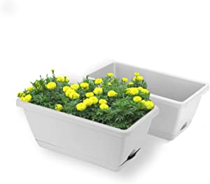 UPMCT 2 Packs Window Boxes Planters, 14 Inches Rectangular Vegetable Plastic Planters with Trays, Indoor and Outdoor Flower Boxes for Windowsill, Patio, Garden, Porch (Grey, 2)