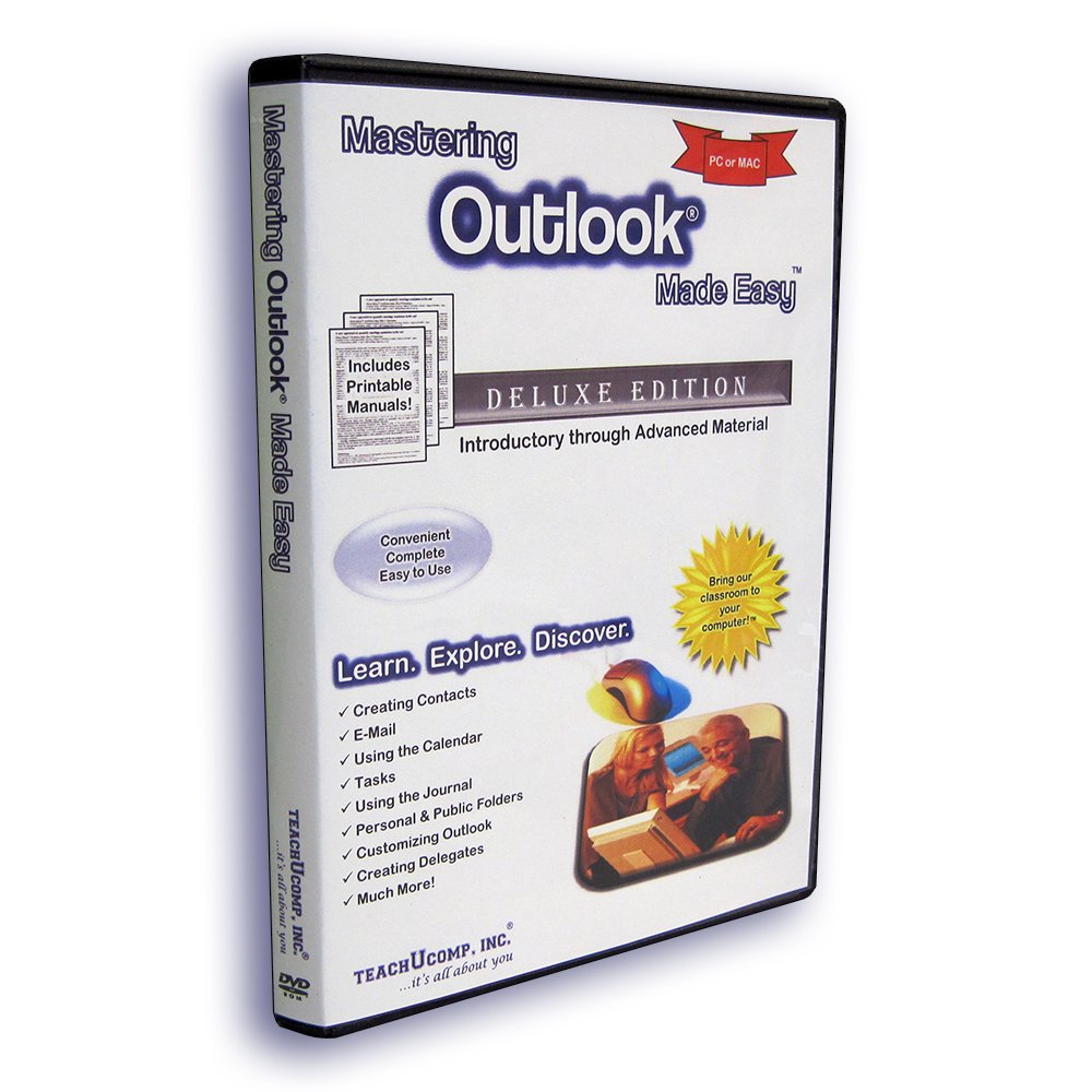 Mastering MS Outlook Made Easy Training Tutorial v. 2007 through 2000 – How to use Microsoft Outlook Video e Book Manual Guide. Even dummies can learn step by step from this total DVD for everyone, with Introductory - Advanced material from Professo