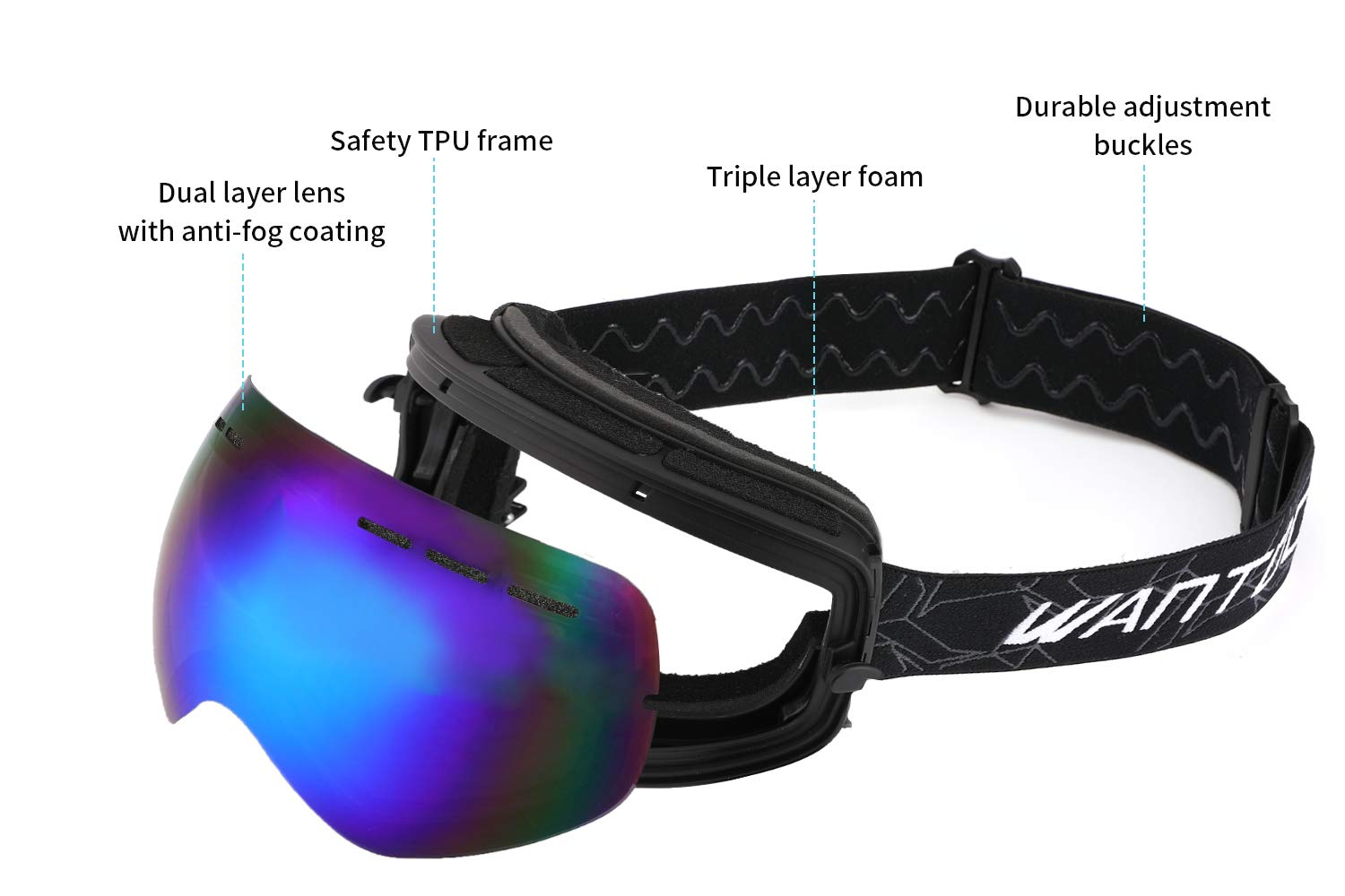 acbeee8f803 Wantdo 180 Degree Ski Goggle Winter Sports Glasses Snowboard Snowmobile  Skate Spherical Dual Layers Lens UV400 Protection Anti-Fog OTG Helmet  Compatible ...