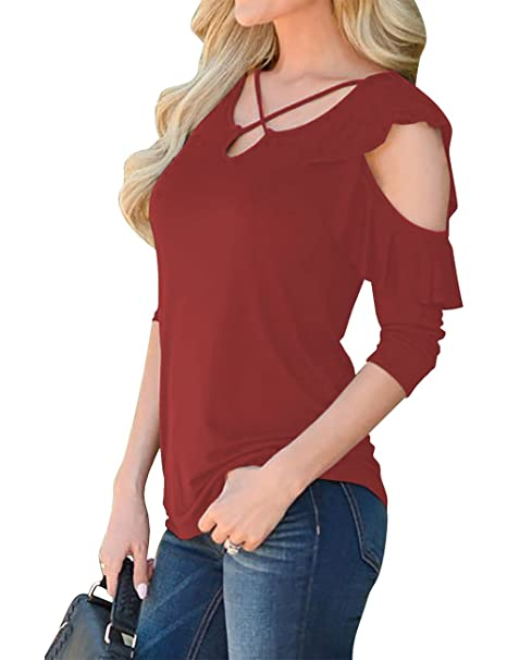 Amazon.com  Women s Cold Shoulder Shirts Strappy Criss Cross Half Sleeve V  Neck Loose Casual T Shirt Tiered Ruffle Tops  Clothing cf863927f615