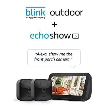 Amazon.com: Echo Show 5 (Charcoal) with All-new Blink Outdoor- 2 camera kit: Amazon Devices