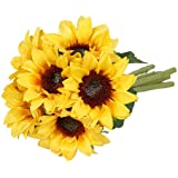 Meiliy 6 Pcs Artificial Sunflower Bouquet Fake Sunflowers with Stems for Wedding Bride Bridesmaid Holding Flowers Bulk for Ho
