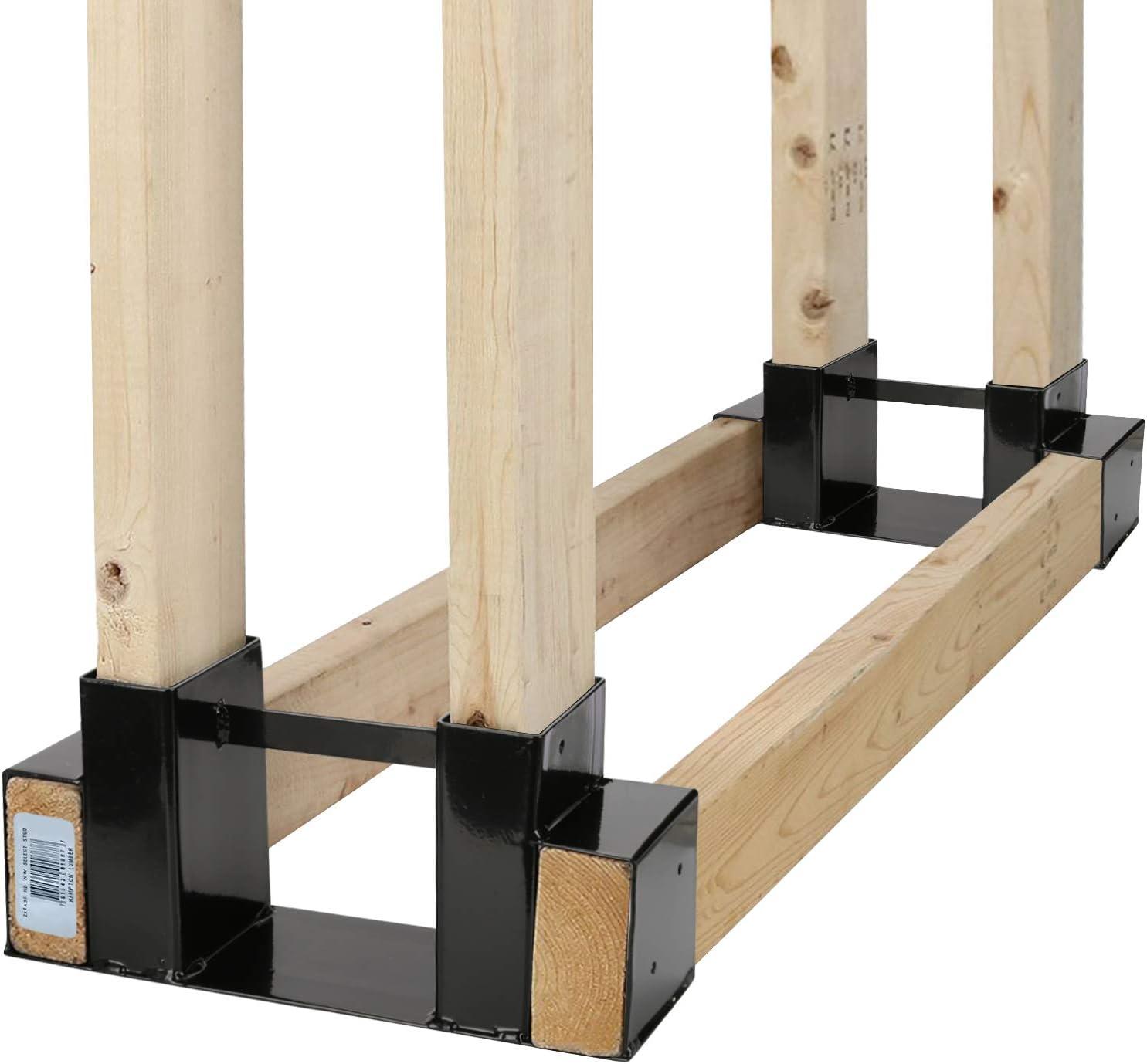 Outdoor Firewood Log Rack Bracket Kit Fireplace Wood Storage Holder Adjustable To Any Length 2 Bracket Kit Home Improvement
