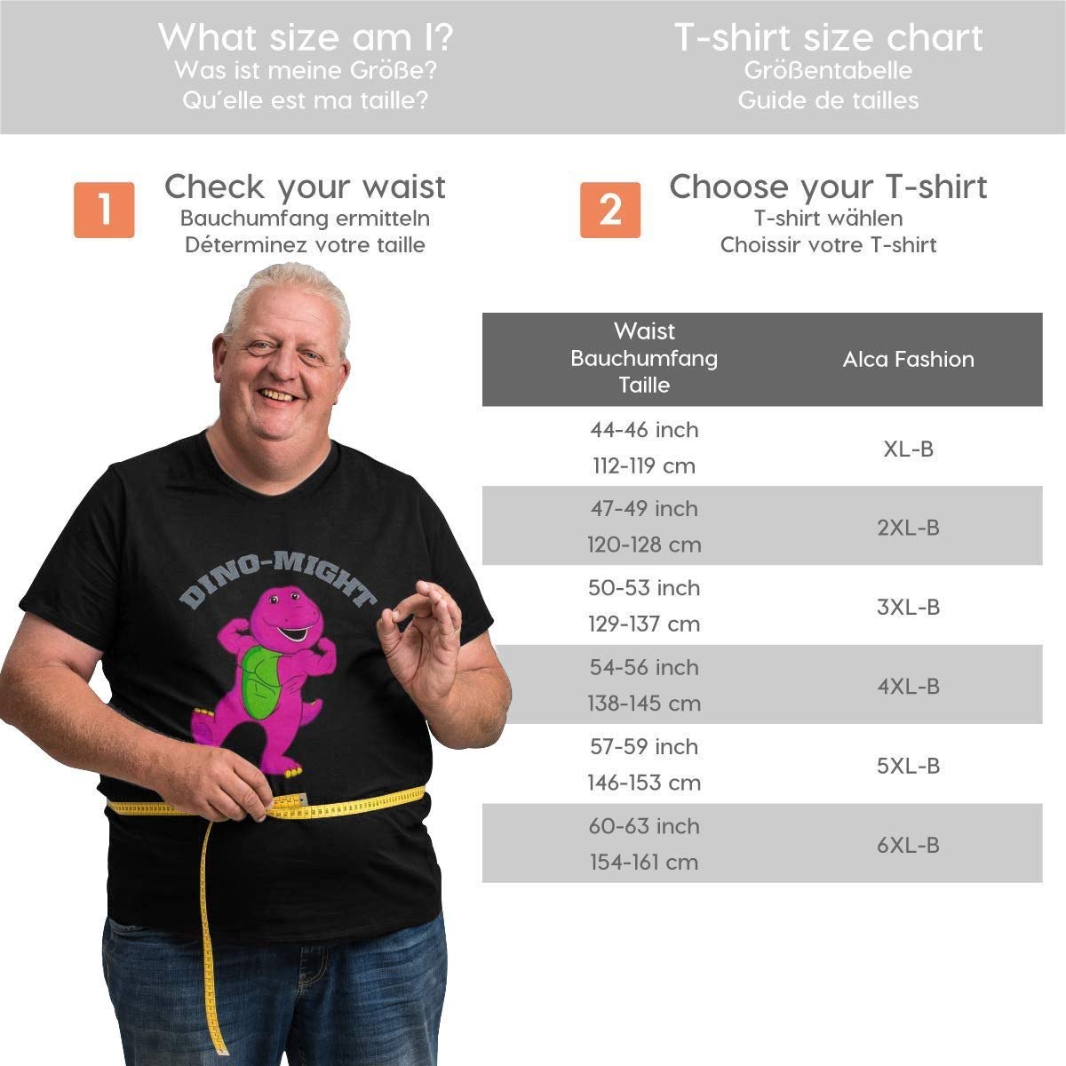 Men T Shirts Big Size Dino-Might Buff Barney The Dinosaur Tees Stylish Tops for Gifts