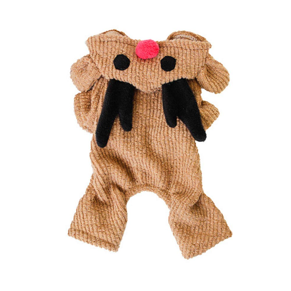 16  Cat Dog Costume Jumpsuit Dog Clothes Cartoon orange Elk Plush Fabric Costume for Pets Men's Women's Cute Holiday Cosplay Christmas