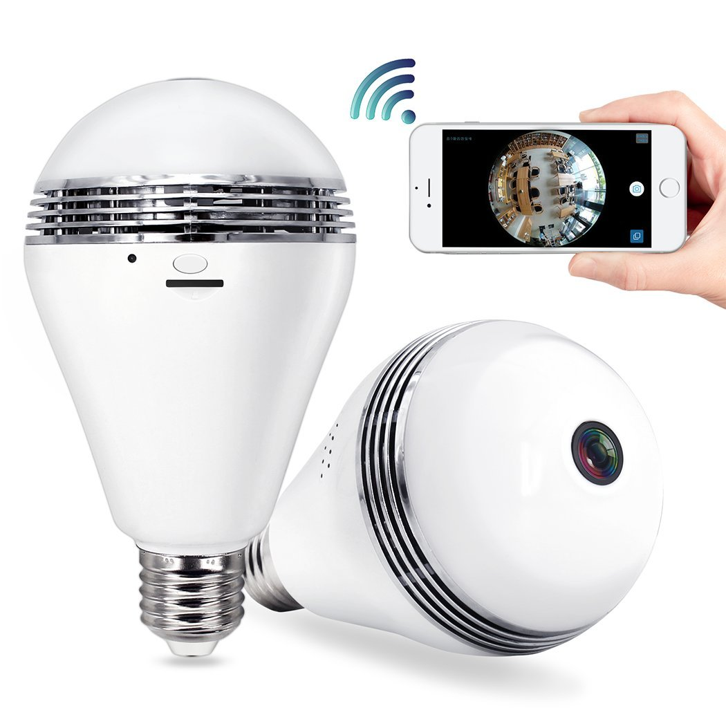 Security Camera Bulb Wifi System - TecBillion (Updated Version), Home Security Camera Light Bulb Wireless Outdoor, Wide 360 Degree Lens Video Digital Wifi Indoor Security IP Dome Camera, White by TecBillion