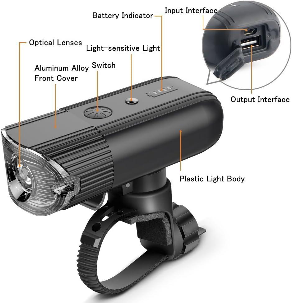 shenkey Bike Lights USB Rechargeable LED Bicycle Headlight 2000mAh//1000 Lume...