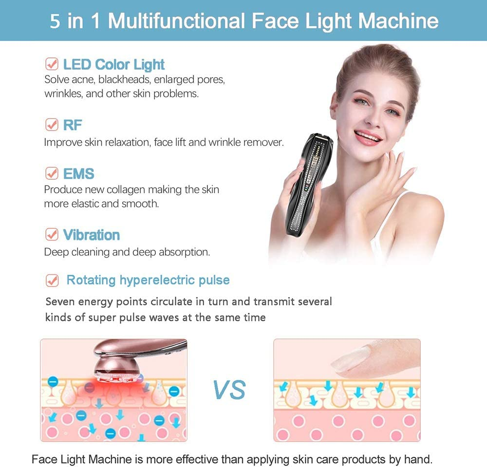 XISURE Face Beauty Machine, 2020 5 in 1 Vibrationsmaschine, zur Straffung von Riden, Aufhellen, Straffende Schönheitspflege, Massage Spa Body Maschine goldfarben Schwarz