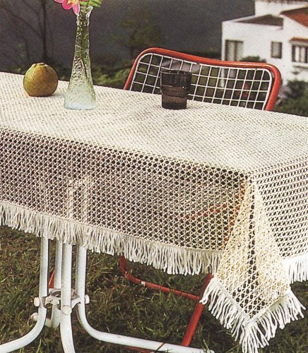 Amazon.com: Sana Enterprises Our Crochet Non Skid Vinyl Patio Outdoor  Tablecloth Adds Elegance, Round, Ivory: Patio Table Covers: Kitchen U0026 Dining