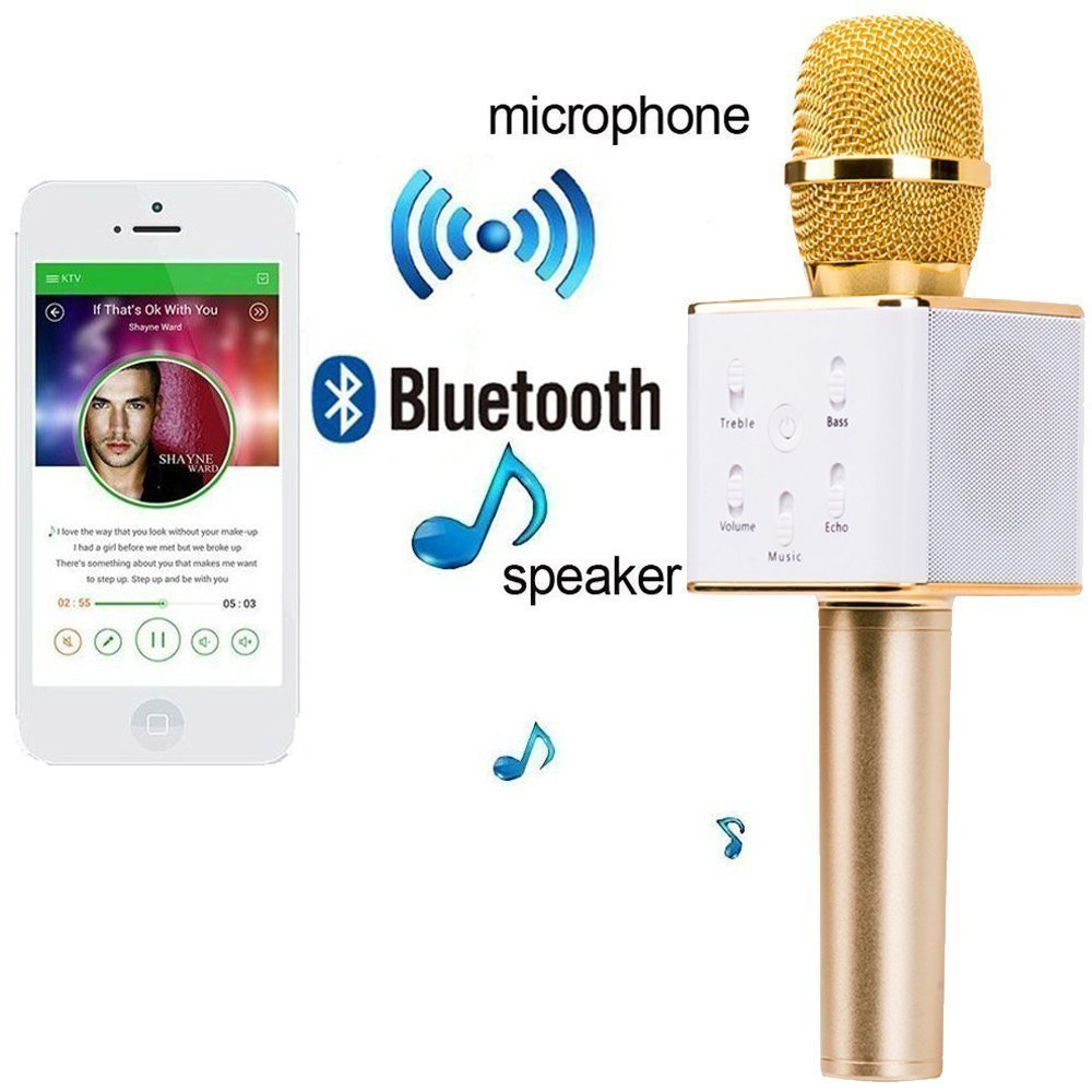 Handheld Wireless Microphone With Bluetooth Speaker For All Ios Audio Jack Music Receiver Tanpa Kabel Android Smartphones Musical Instruments