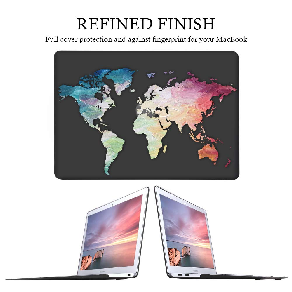 iLeadon MacBook Air 13 Inch Case 2018 Release A1932, Soft Touch Ultra Thin Hard Shell Cover for Apple Newest MacBook Air 13 Inch with Retina Display fits Touch ID, Black Map by iLeadon (Image #4)