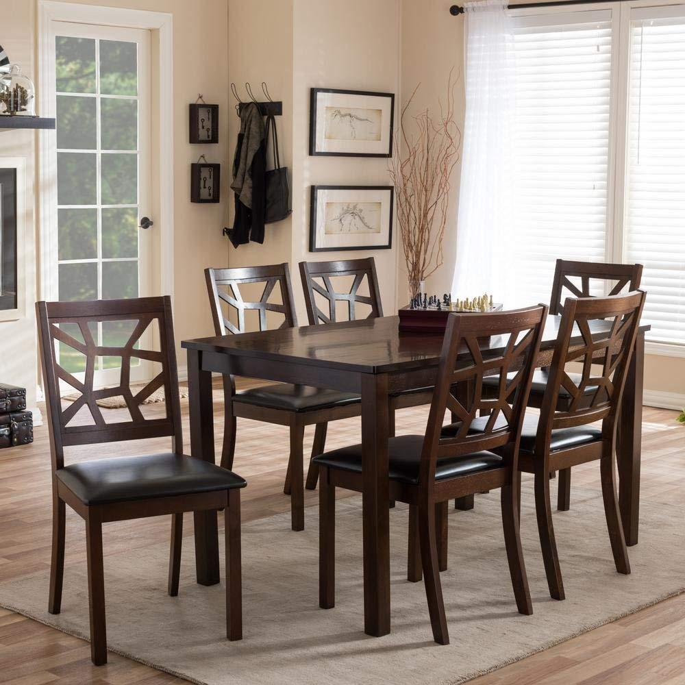 Amazon.com: Mesa de comedor Baxton Studio mozaika 7 piezas ...