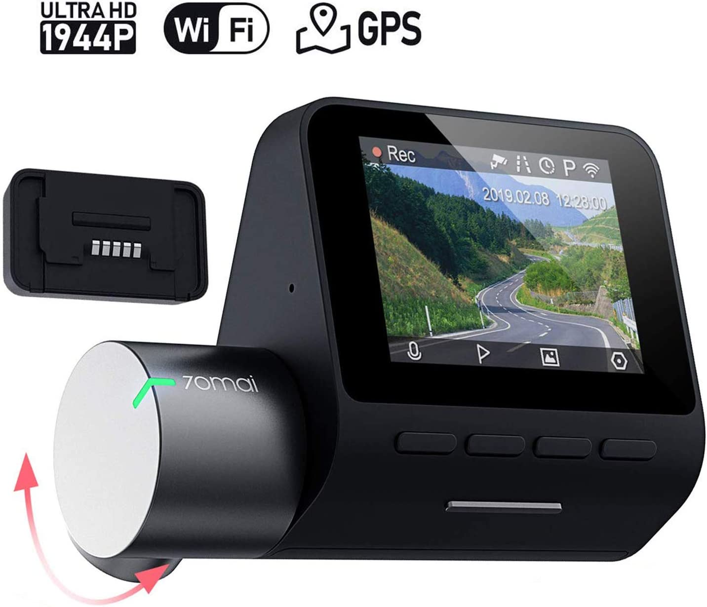 Loop Recording App WiFi Night Vision Motion Detection 70mai Smart Dash Cam Pro 2 LCD Screen 2020 2K Dash Cam Recorder Voice Control Parking Monitor High Resolution 1944p G-Sensor WDR