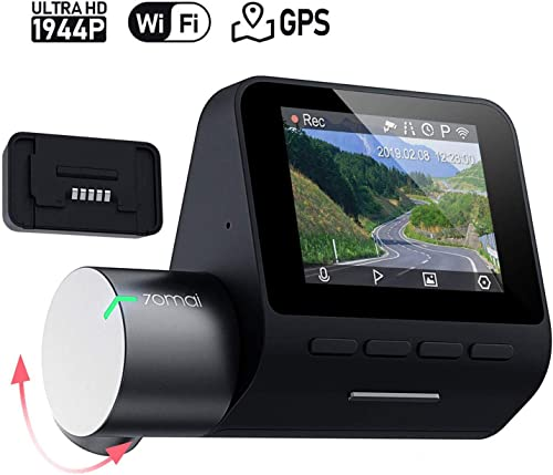 70mai Dash Cam Pro, 1944P FHD Rotatable WDR 140 Wide Angle Dashboard Camera Recorder with GPS Module Voice Control G-Sensor Parking Mode Auto Emergency Recording Night Vision DVR Driving Recording