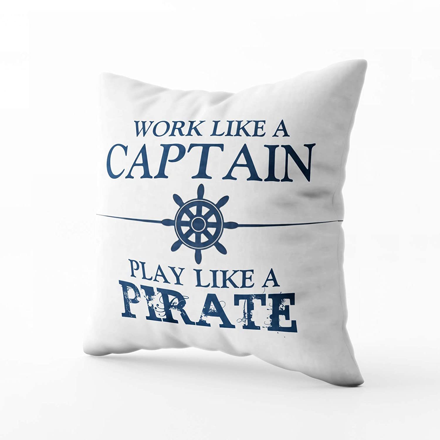 Capsceoll work like a captain play like a pirate quote Decorative Throw Pillow Case 18X18Inch,Home Decoration Pillowcase Zippered Pillow Covers Cushion Cover with Words for Book Lover Worm Sofa Couch