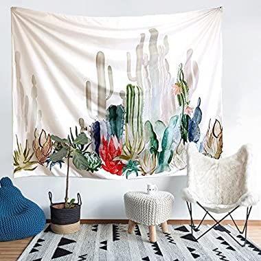 Cactus Tapestry, Arfbear wall hangings yellow and green watercolor printed nature large tablecloths wall tapestry 61x78.7inches