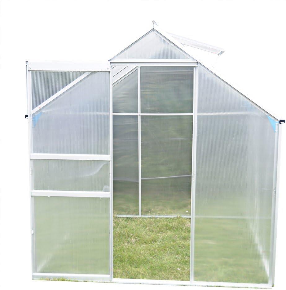 Panana – Invernadero montable con marcos de aluminio, paredes huecas de policarbonato y base, 6x6ft: Amazon.es: Hogar