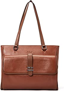 Genuine Leather Laptop Tote Bags for Women Large Briefcase Work Ladies Handbag Fits Up to 15.6 Inch Dark Brown