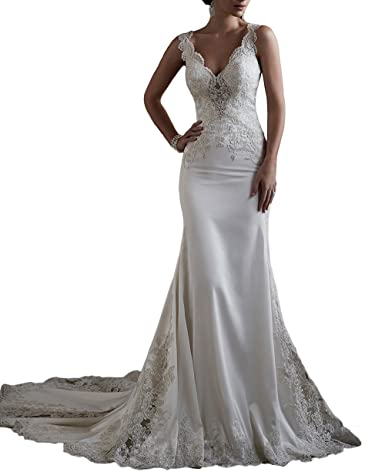 Sogala Sexy V Neck Lace Appliques Wedding Dresses For Bride