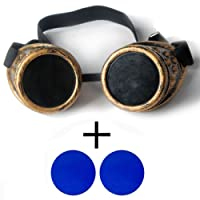 New Sell Vintage Steampunk Goggles Glasses Welding Cyber Punk Gothic with 2 Blue Lens