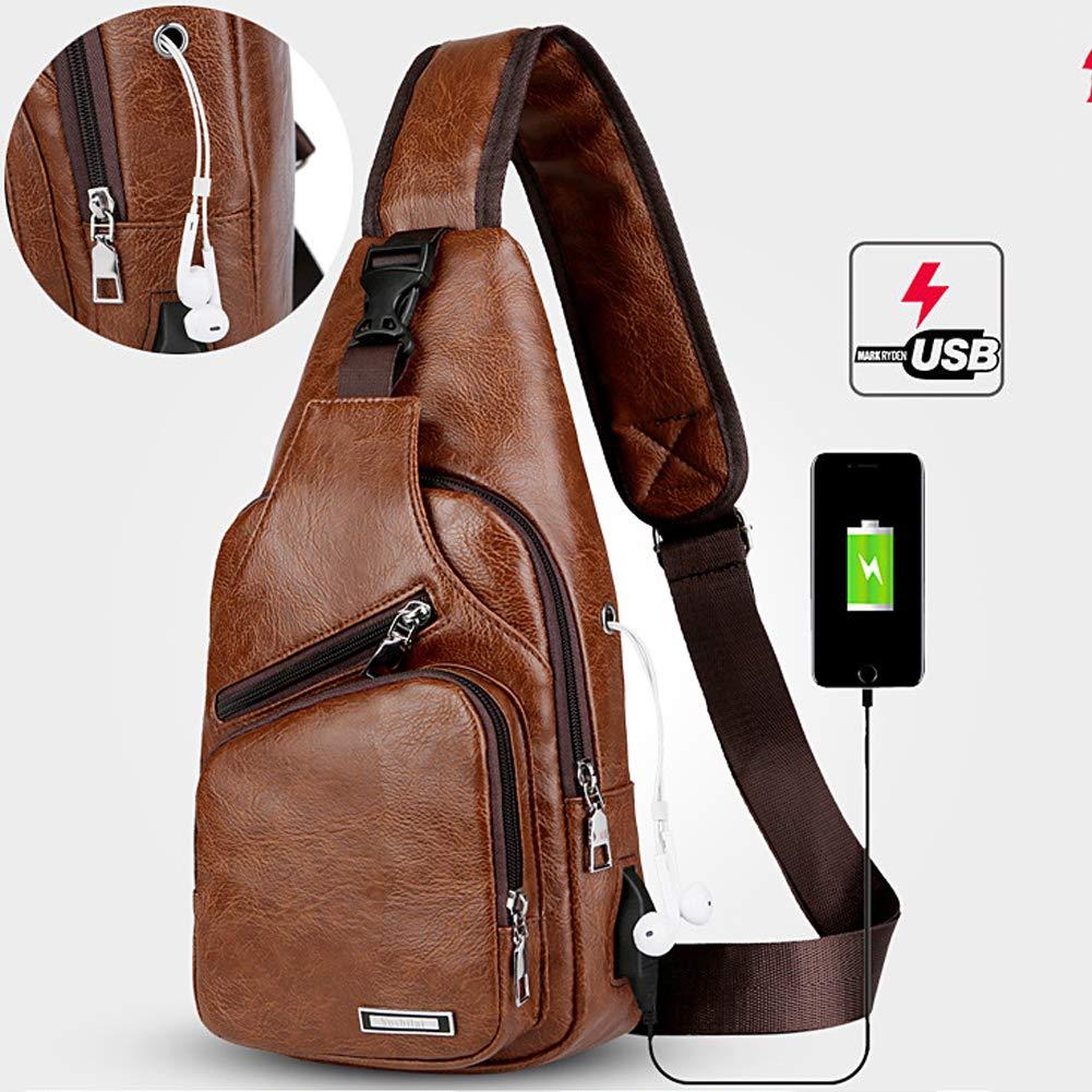 Sling Bag Men Chest Shoulder Backpack Crossbody Bag with USB Charging Port for Women Hiking Cycling Camping Daypacks (drak brown -3) by MeKaren (Image #2)