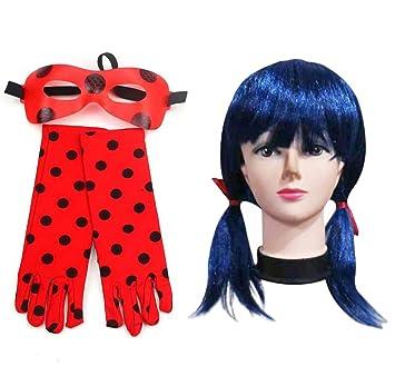 furein Kit Peluca Sintética Azul   Guantes y Antifaz para Disfraz Personaje  Ladybug Modelo Talla Única 5179679fb213
