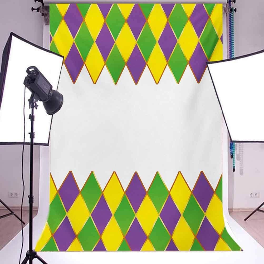Mardi Gras 6.5x10 FT Backdrop Photographers,Carnival Colored Grid Design Diamond Line Pattern Retro Framework Background for Photography Kids Adult Photo Booth Video Shoot Vinyl Studio Props